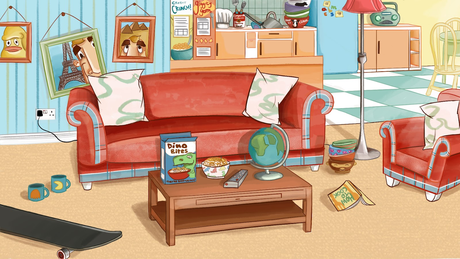 Cartoon background room