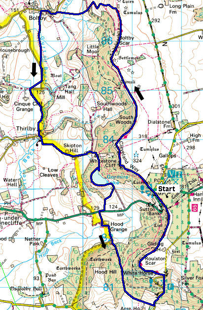 Map of the circular walk from Sutton bank, to Whitestone Cliff, Gormire lake and the white horse.