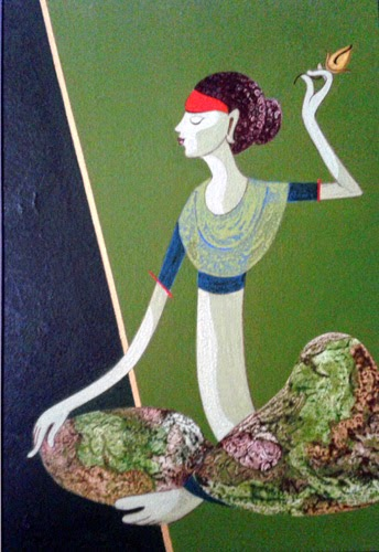 16th - 28th Mar.'15: Pradarshak presents Semi-abstract Figurative Paintings by Nilesh Nikam