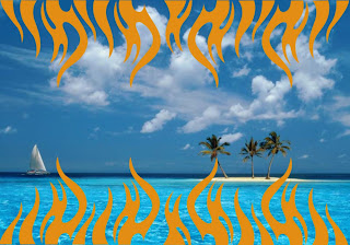 Harley Davidson Wallpapers for free Bikes Flames Logo in Blue Island backgrounds