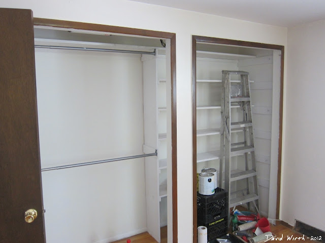 white closet shelves, redo closet, build shelf in closet