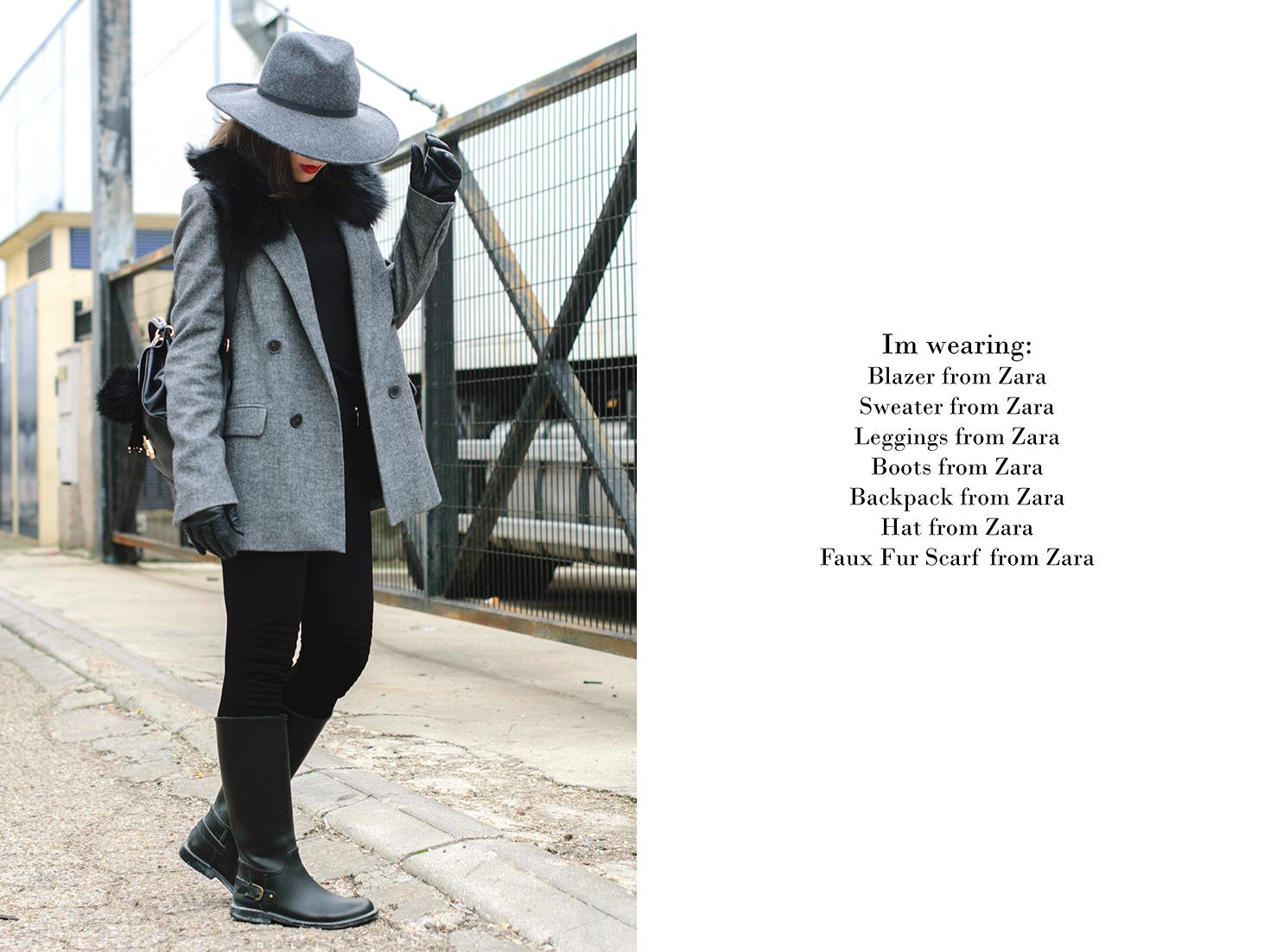 Total look de Zara con botas de agua