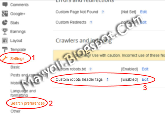 blogger Custom robot header tags