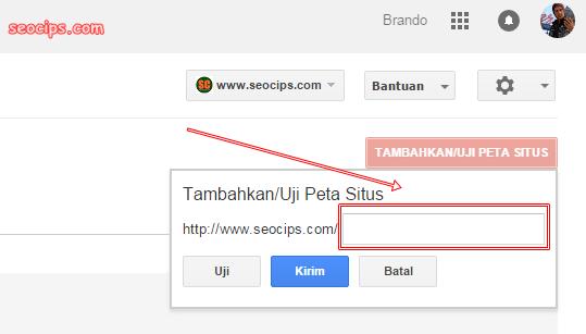 Masukan sitemap/peta situs di webmaster tools