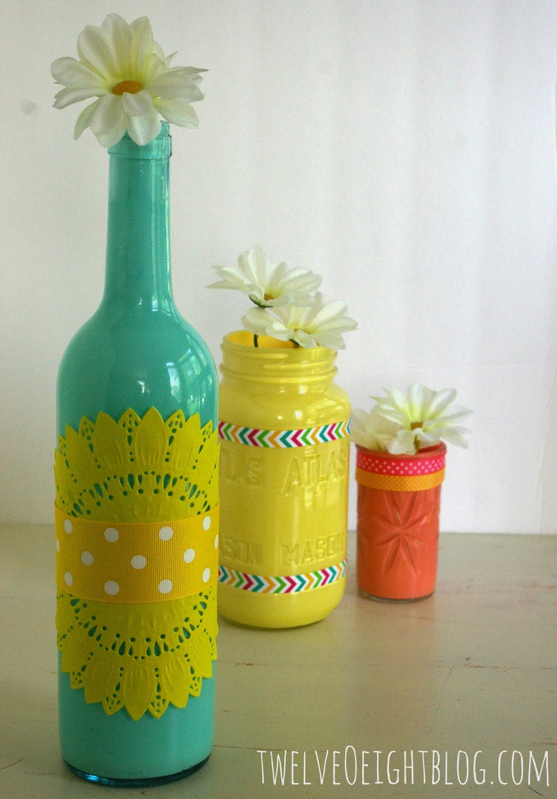 painted glass bottle vases