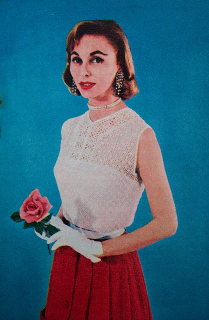 50s crochet lace top