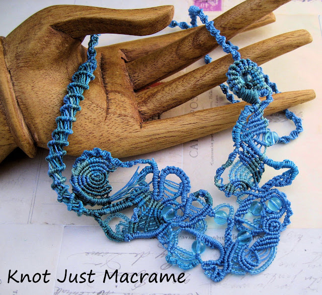 A study of water free form micro macrame necklace