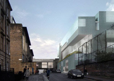 Steven Holl's new building (right) makes the Mackintosh building look ancient, small and horrible