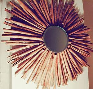 καθρευτης τοιχου, διακοσμητικος καθρευτης, κανελλα, DIY καθρευτης, στρογγυλος καθρευτης