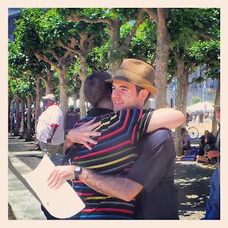 Hugging someone at the Civic Plaza