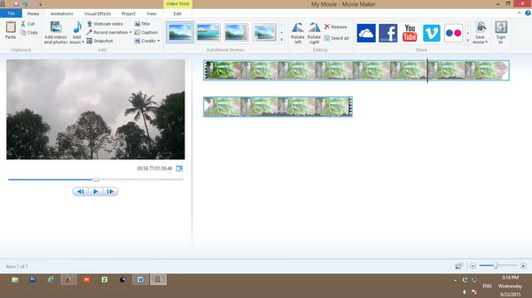 menu - windows movie maker 2012