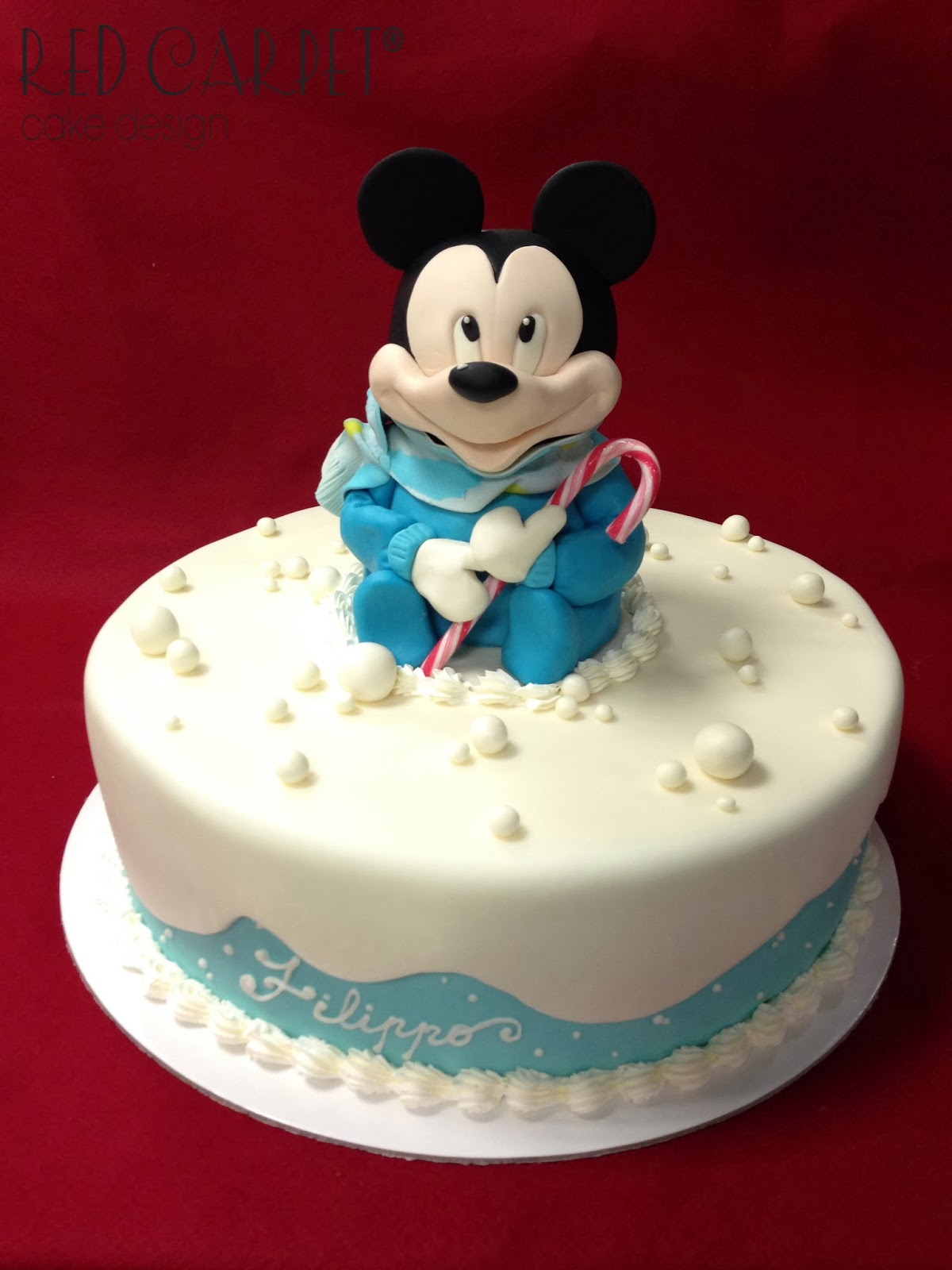 Baby Mickey Mouse Xmas Cake By Red Carpet Cake Design Red Carpet