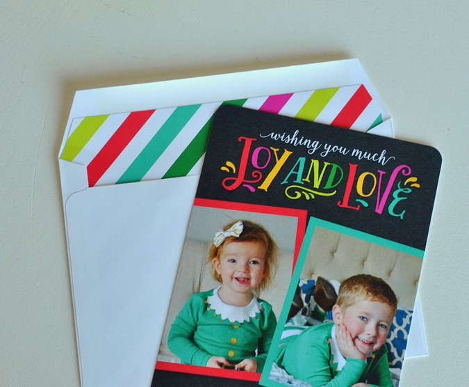 colorful christmas cards with striped envelope liner