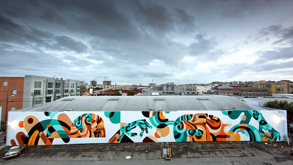 Shortly after Miami and Art Basel, REKA flew straight to San Francisco where he was invited to work on a 200 ft piece in the SOMA district of the city.
