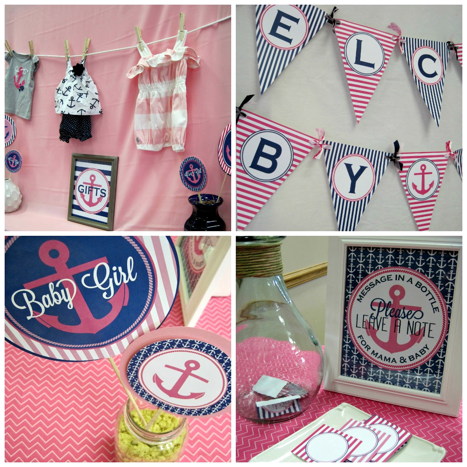 Pink and navy nautical baby shower with nbrynn designs for Anchor decoration party