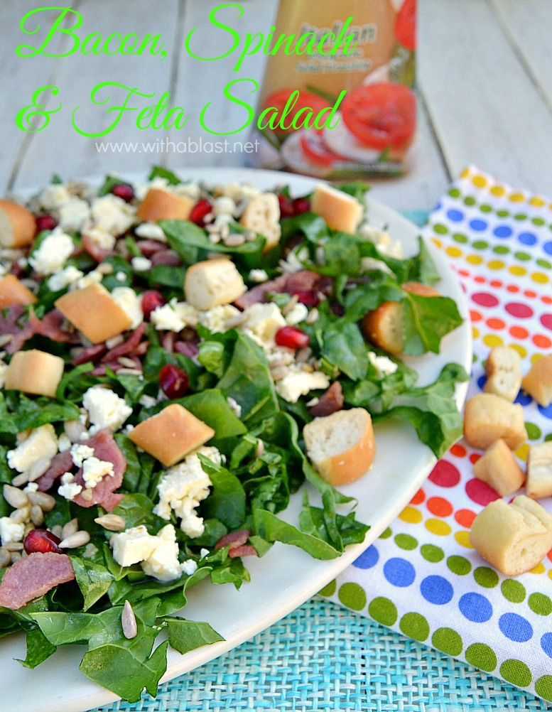 Bacon Spinach and Feta Salad ~ One of the quickest, low-fat healthy Salads around ! Serve this Bacon Spinach and Feta Salad for lunch, as a light dinner or a side dish