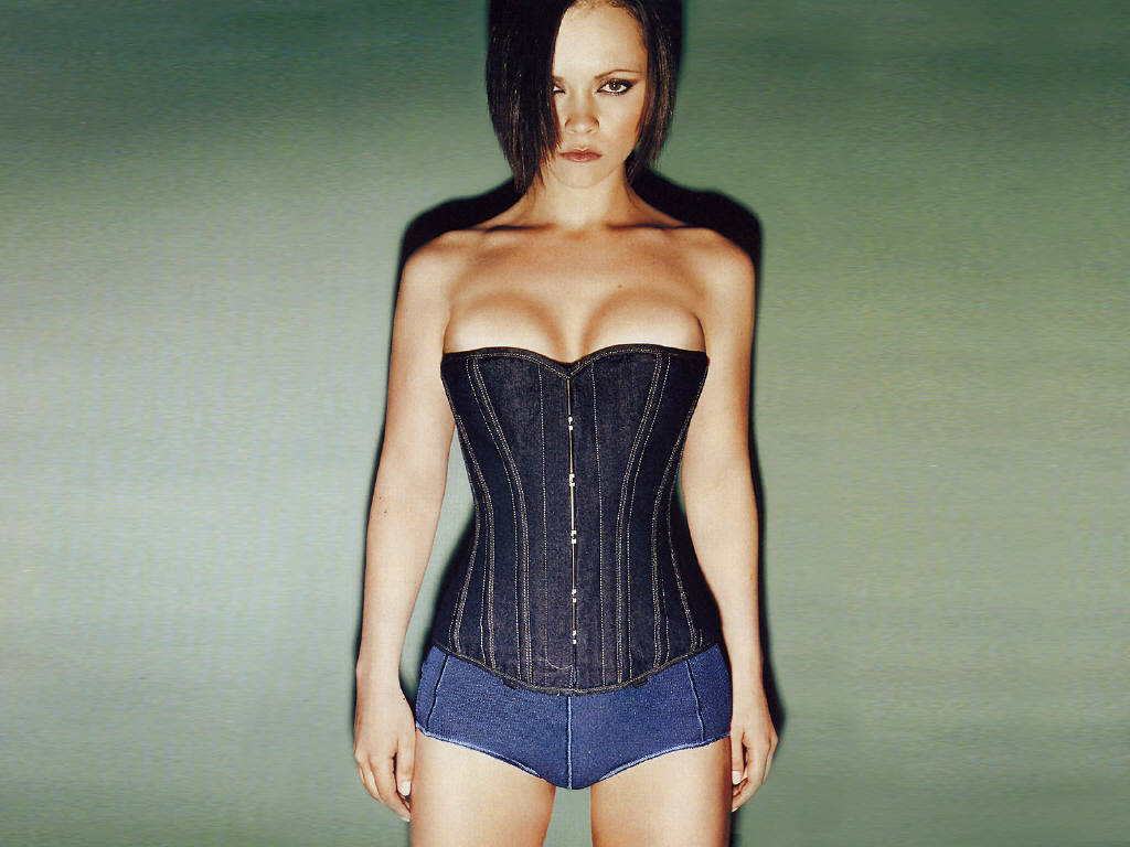 Christina Ricci in blue bustier