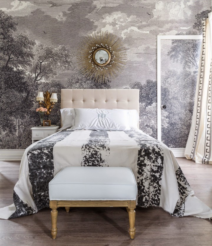 A perfect gray gray and white wall mural for Anthropologie etched arcadia mural