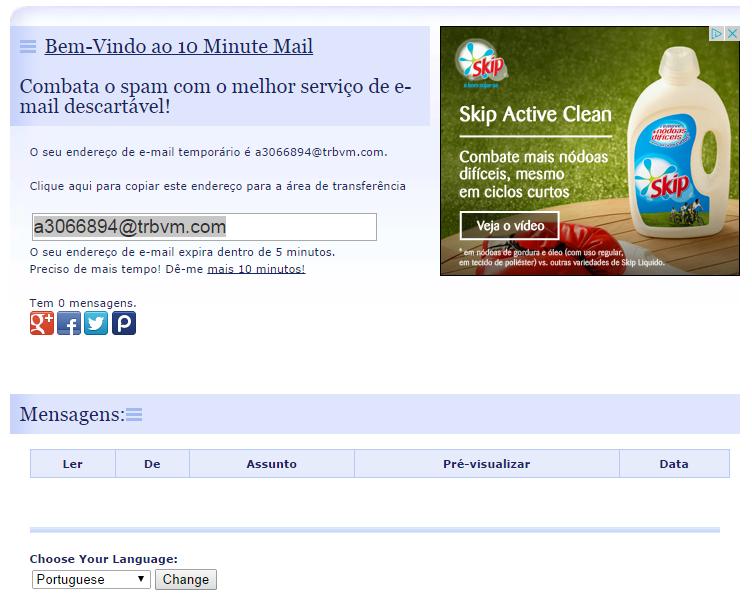 10 Minute Mail -  Endereço de E-mail Temporário