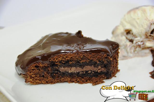 עוגת בראוניז שוקולד chocolate brownie with oreo