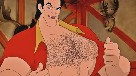 Disney's Gaston bearing hairy chest