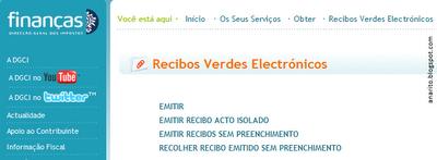 recibo verde electrónico, recibos verdes, recibos verdes electrónicos, emitir recibos verdes, passar recibos verdes