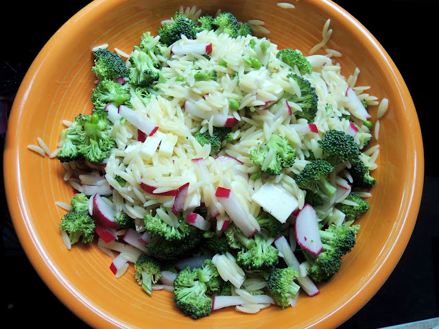 Orzo salad with peas, broccoli, radish, and havarti