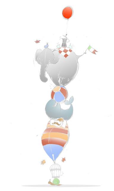 Disegno di circo verticale, con elefante, foca e uomo forzuto