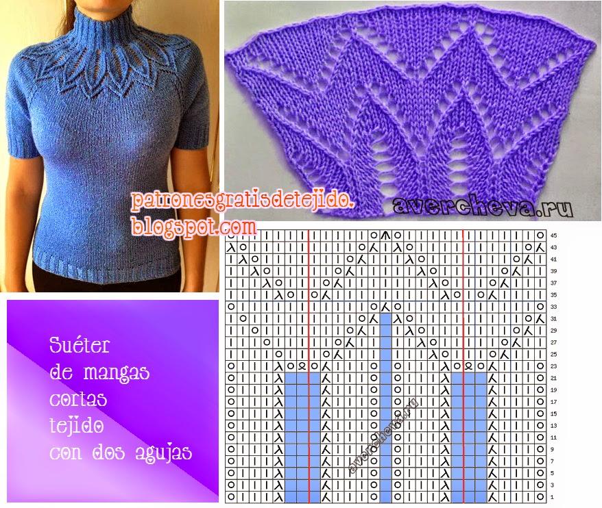 Patrón de suéter de lana mangas cortas cuello polera