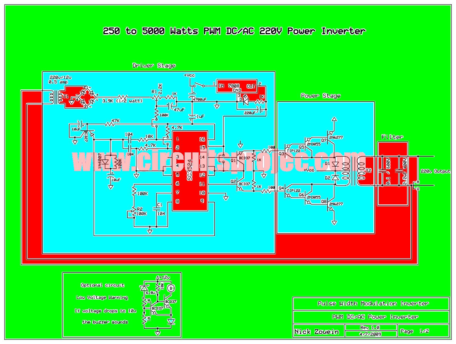 Circuit Diagram Of Pwm Inverter Sg3524 250w Simple Electronic 5000 Watt