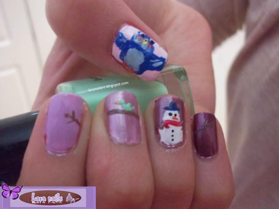 Lara Nails muñeco de nieve y pájaro paso a paso