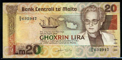 Malta currency 20 Maltese lira banknote Maltese sailing ship