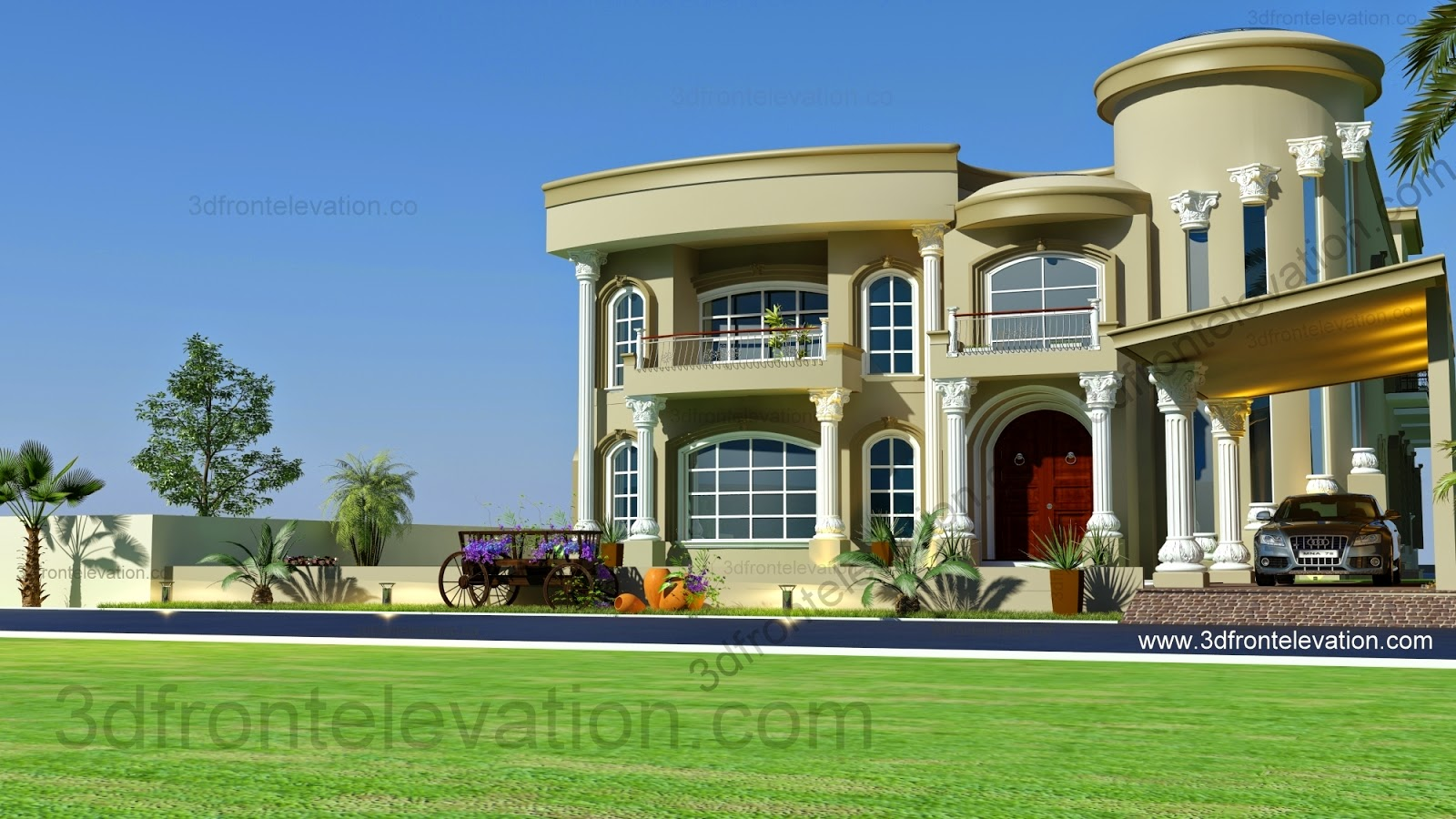 3d front beautiful modern villa design 2015 for Modern roman villa house plans