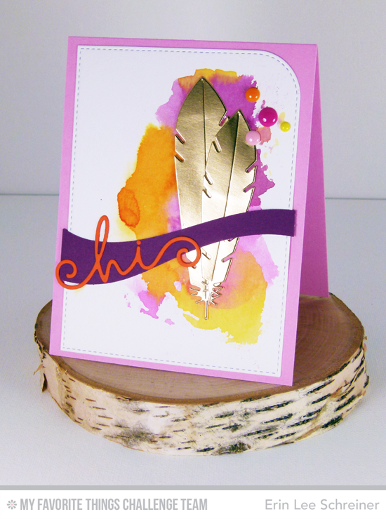 Fancy Hi Card from Erin Lee Schreiner featuring Accent It: Feathers and Arrows, Ride the Wave, and Happy Hellos Die-namics