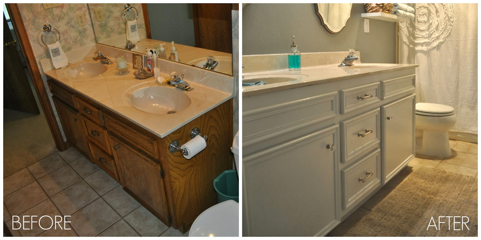 Before and after guest bathroom jesse coulter for Cabinets before and after