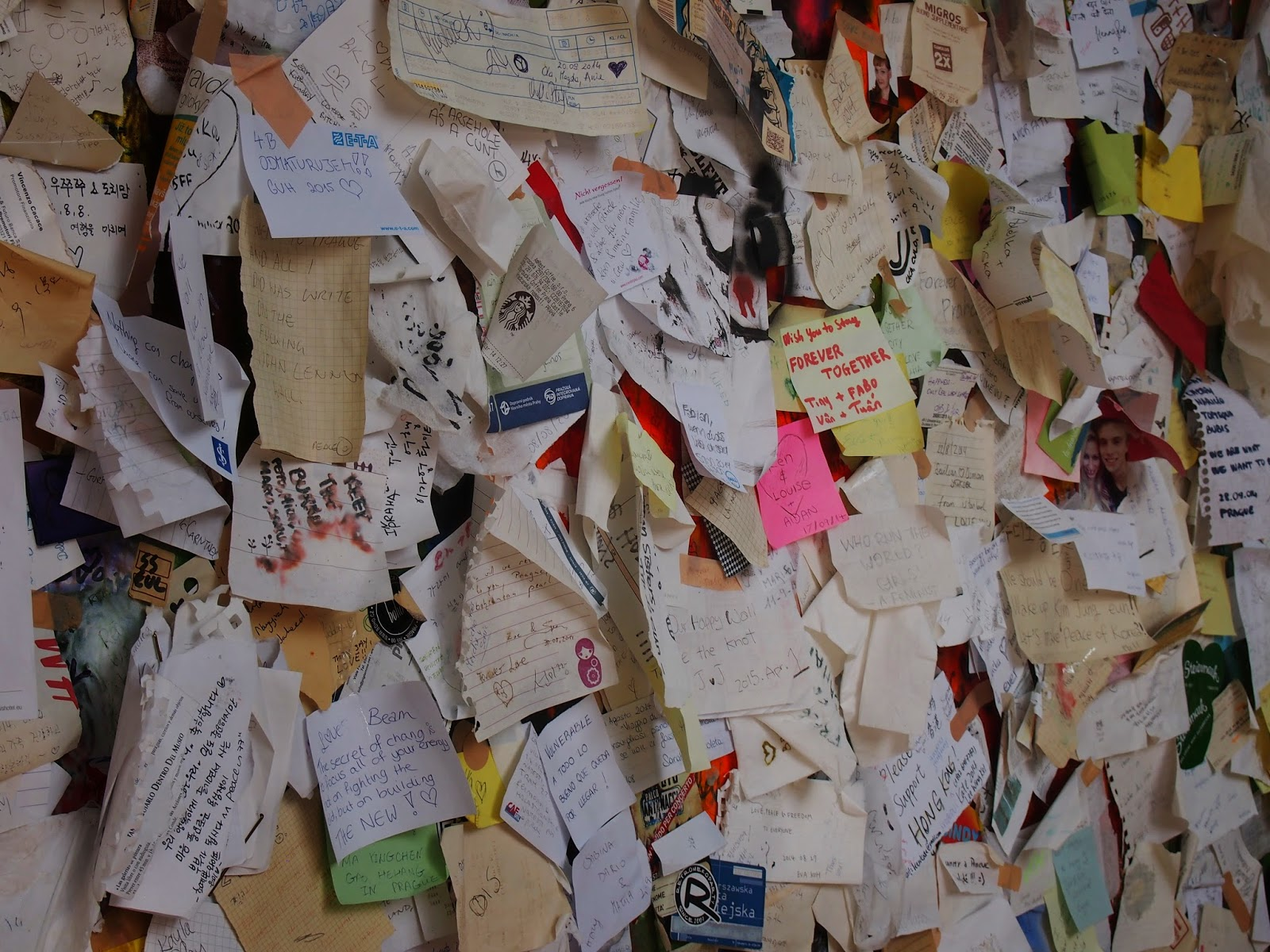 Wishes on the Lennon Wall in Prague