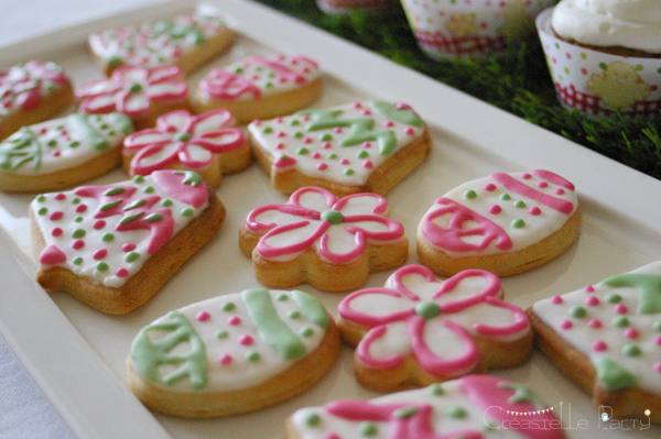 Easter garden party decorated cookies