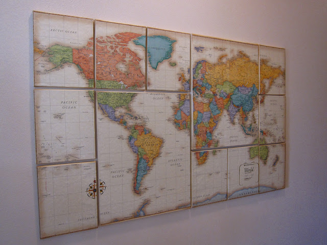 Trend Or how about this It us a Small World nursery theme map on canvas that Paul and Karissa made