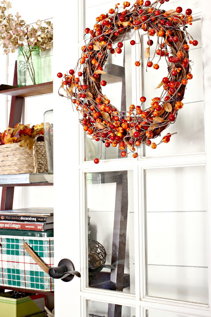 Fall wreath on french door in family room-www.goldenboysandme.com