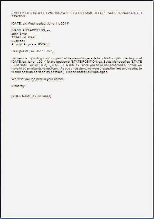 Employment Offer Rescind Letter Template  Letter Template