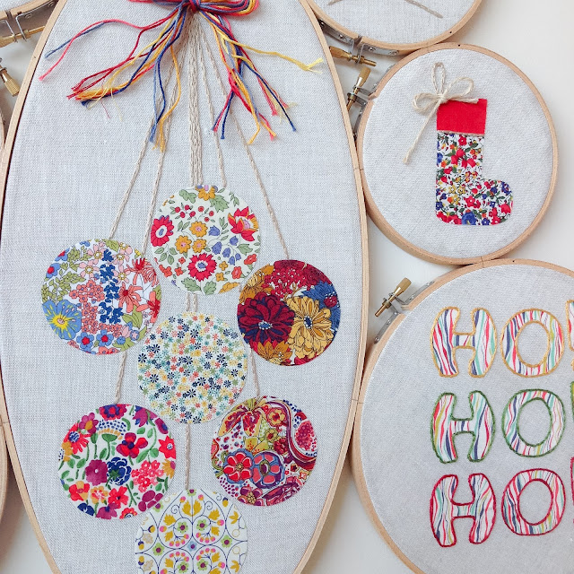 Closeup Christmas Baubles Hoop Art Decoration