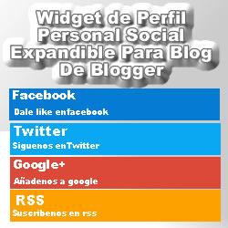 Widget de perfil personal social expandible para blogger