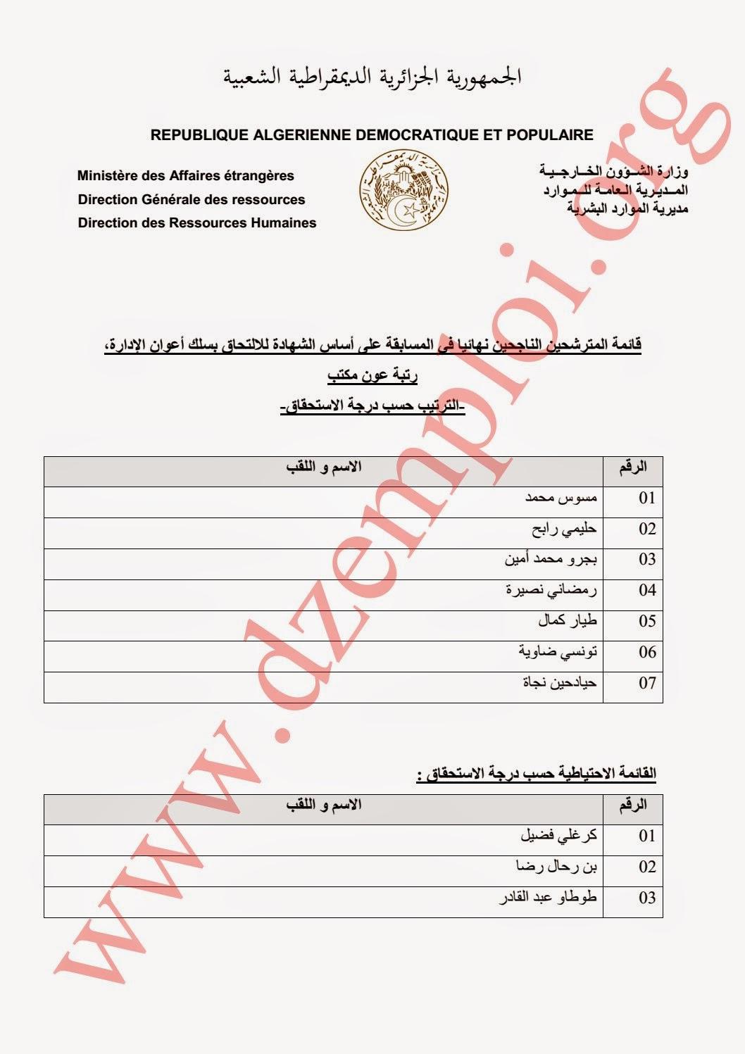 قائمة المترشحين الناجحين نهائيا في مسابقة وزارة الخارجية الخاصة برتب الأسلاك المشتركة 2014 1.jpg