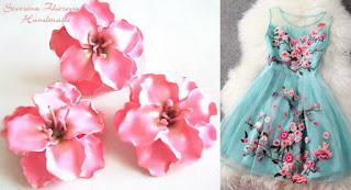 Розови цветя в комбинация с рокля