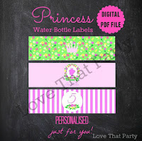 princess party water bottle labels personalized pink