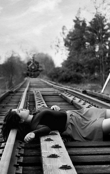 Damsel In Distress Train Tracks Cartoon