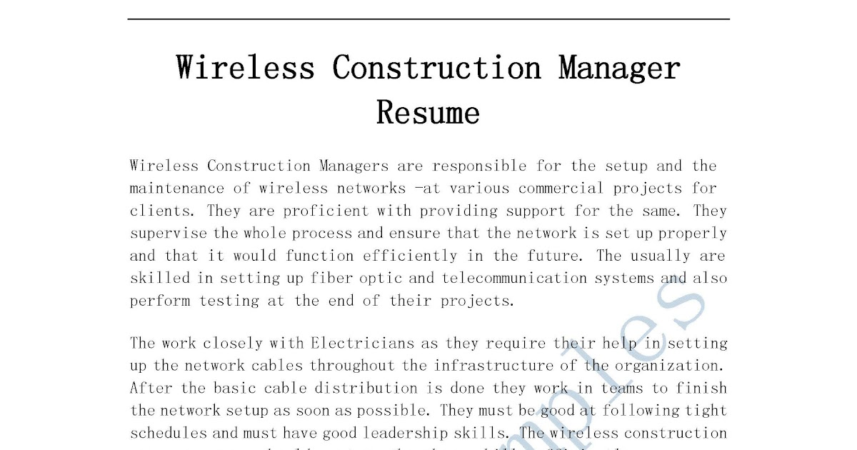 construction manager resumes