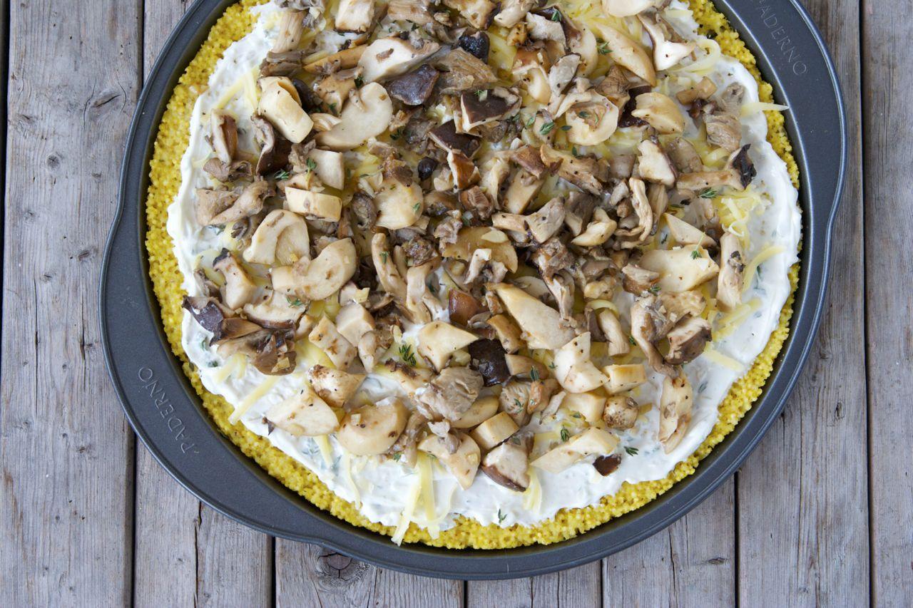 Millet-Crusted Wild Mushroom Pizza