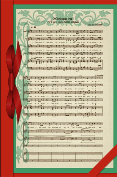 Red and green card with aged sheet music