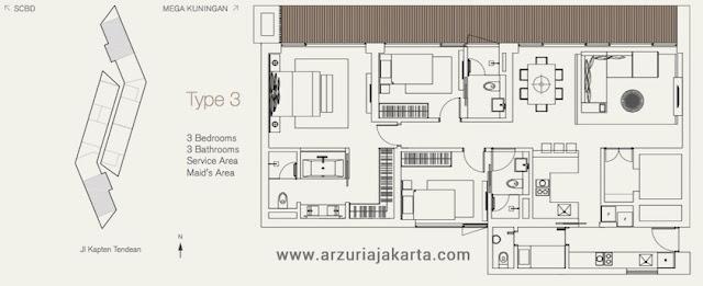 Tipe 3 Apartemen Arzuria Jakarta Selatan